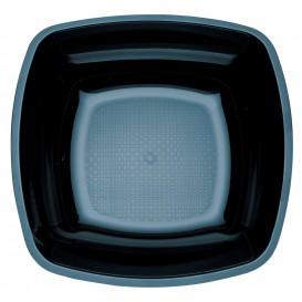 Piatto Plastica Fondo Nero Square PS 180mm (150 Pezzi)