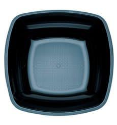 Piatto Plastica Fondo Nero Square PS 180mm (300 Pezzi)