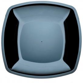 Piatto Plastica Piano Nero Square PS 300mm (72 Pezzi)