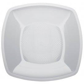 Piatto Plastica Piano Bianco Square PP 180mm (25 Pezzi)