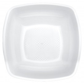 Piatto Plastica Fondo Bianco Square PP 180mm (150 Pezzi)
