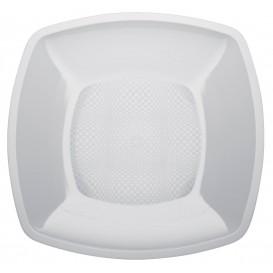 Piatto Plastica Piano Bianco Square PP 230mm (25 Pezzi)
