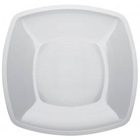 Piatto Plastica Piano Bianco Square PP 230mm (300 Pezzi)