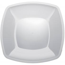 Piatto Plastica Piano Bianco Square PS 300mm (72 Pezzi)