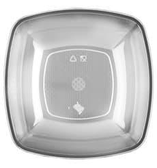 Piatto Plastica Fondo Trasparente Square PS 180mm (25 Pezzi)