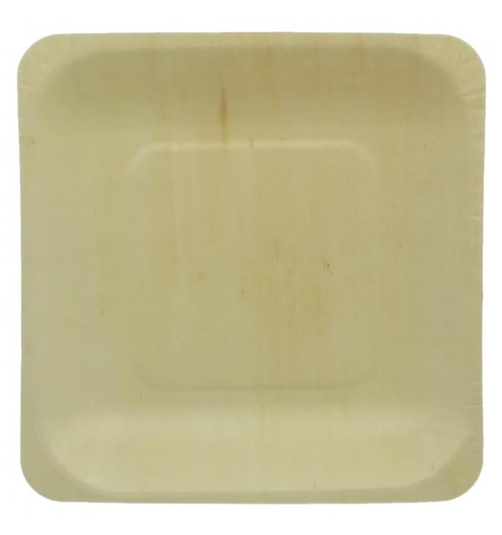 Piatto di Legno quadrato 14x14cm (25 Pezzi)