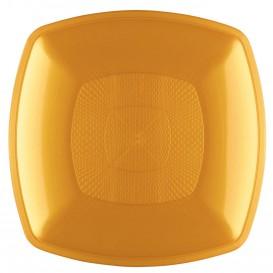 Piatto Plastica Piano Oro Square PP 180mm (12 Pezzi)