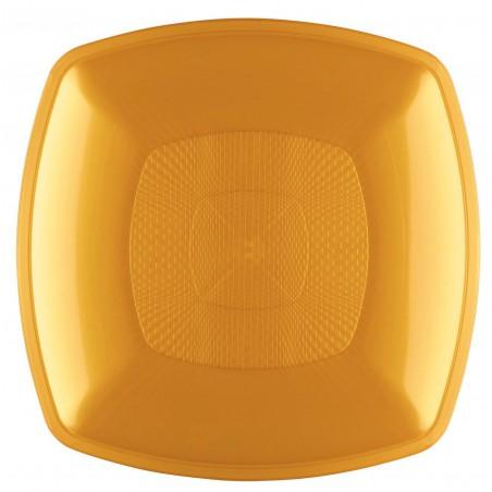 Piatto Plastica Fondo Oro Square PP 180mm (144 Pezzi)