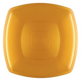 Piatto Plastica Piano Oro Square PS 300mm (12 Pezzi)