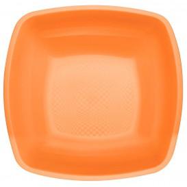 Piatto Plastica Fondo Arancione Square PP 180mm (25 Pezzi)