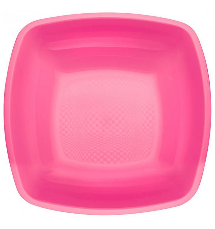 Piatto Plastica Fondo Fucsia Square PP 180mm (300 Pezzi)