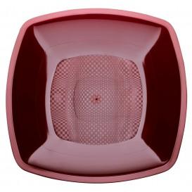 Piatto Plastica Piano Bordeaux 230mm (25 Pezzi)