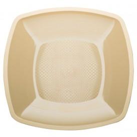 Piatto Plastica Piano Crema Square PP 230mm (300 Pezzi)