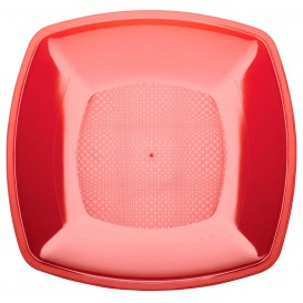 Piatto Plastica Piano Rosso Trasp. Square PS 180mm (25 Pezzi)
