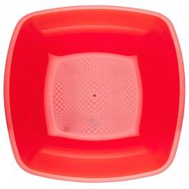 Piatto Plastica Fondo Rosso Trasp. Square PS 180mm (150 Pezzi)