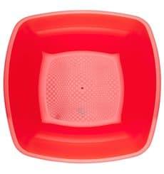 Piatto Plastica Fondo Rosso Trasp. Square PS 180mm (300 Pezzi)