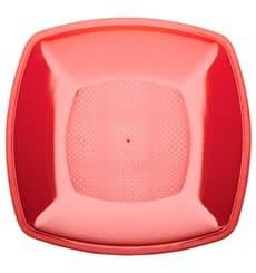 Piatto Plastica Piano Rosso Trasp. Square PS 230mm (300 Pezzi)