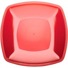 Piatto Plastica Piano Rosso Trasp. Square PS 300mm (12 Pezzi)