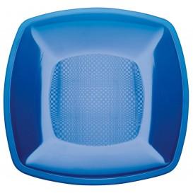 Piatto Plastica Piano Blu Trasp. Square PS 180mm (25 Pezzi)