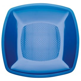 Piatto Plastica Piano Blu Trasp. Square PS 230mm (25 Pezzi)
