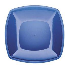Piatto Plastica Piano Blu Trasp. Square PS 300mm (12 Pezzi)