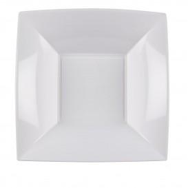 Piatto Plastica Fondo Quadrato Argento 180mm (25 Pezzi)