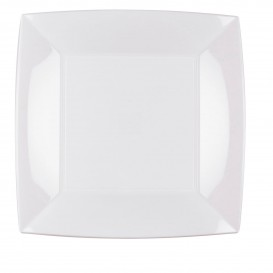 Piatto Plastica Piano Quadrato Argento 230mm(25 Pezzi)