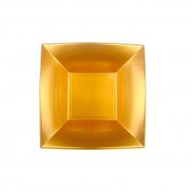 Piatto Plastica Fondo Quadrato Oro 180mm (150 Pezzi)