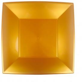 Piatto Plastica Piano Quadrato Oro 290mm (72 Pezzi)