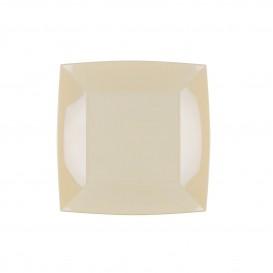 Piatto Plastica Piano Quadrato Argento 180mm (25 Pezzi)