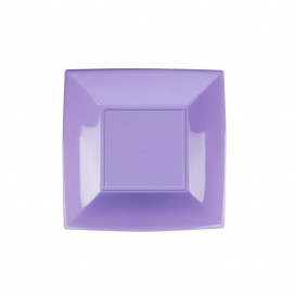 Piatto Plastica Piano Quadrato Argento 180mm (150 Pezzi)