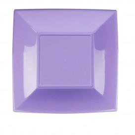 Piatto Plastica Piano Quadrato Argento 230mm(150 Pezzi)