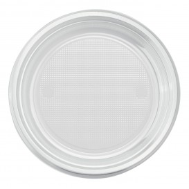 Piatto di Plastica PS Fondo Transparente Ø220mm (30 Pezzi)