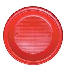 Piatto di Plastica PS Piano Rosso Ø280mm (10 Pezzi)