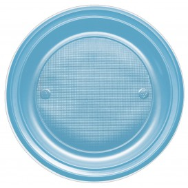 Piatto di Plastica PS Piano Turchese Ø170mm (1100 Pezzi)