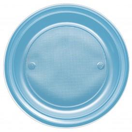 Piatto di Plastica PS Fondo Turchese Ø220mm (30 Pezzi)
