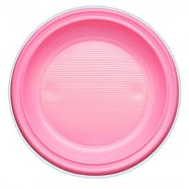 Piatto di Plastica Piano Rosa PS Ø220mm (780 Pezzi)