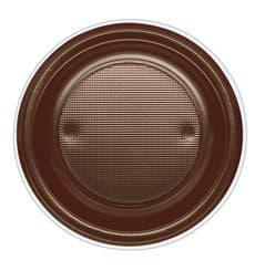 Piatto di Plastica PS Fondo Ciaccolato Ø220mm (600 Pezzi)
