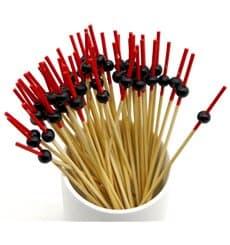 """Spiedi """"Bola"""" di Bambu Rosso e Nero 120mm (5000 Pezzi)"""