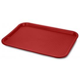 Vassoio Plastica Rettangolare Rigida Rosso 22x56cm (24 Pezzi)