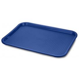 Vassoio Plastica Rettangolare Rigida Blu 35,5x45,3cm (24 Pezzi)