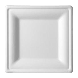 Piatto Quadrato Bianco Canna Zucchero 15x15cm (50 Pezzi)