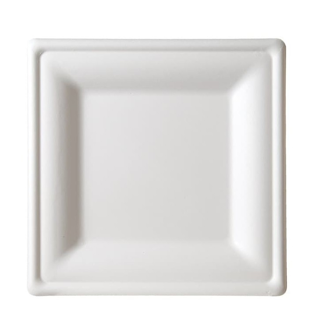 Piatto Quadrato Bianco Canna Zucchero 20x20cm (50 Pezzi)