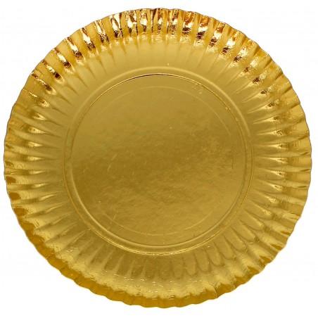 Piatto di Carta Tondo Oro 230mm (100 Pezzi)