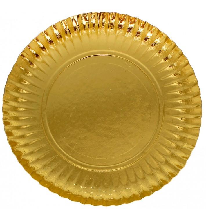 Piatto di Carta Tondo Oro 230 mm (500 Pezzi)