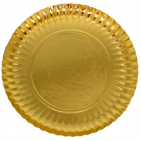 Piatto di Carta Tondo Oro 230mm (300 Pezzi)