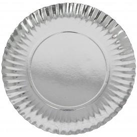 Piatto di Carta Tondo Argento 230 mm (300 Pezzi)