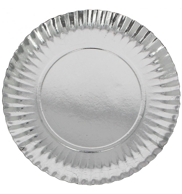 Piatto di Carta Tondo Argento 230 mm (500 Pezzi)