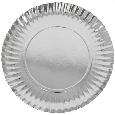 Piatto di Carta Tondo Argento 230mm (300 Pezzi)