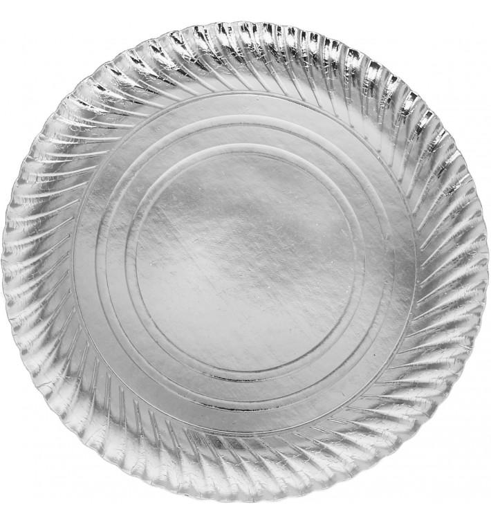 Piatto di Carta Tondo Argento 300 mm (100 Pezzi)